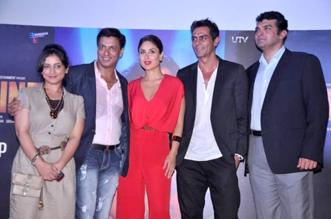 From Left to Right - Divya Dutta, Madhur Bhandarkar, Kareena Kapoor, Arjun Rampal, and Siddharth Roy Kapur at the First look launch of 'Heroine' in July 2012