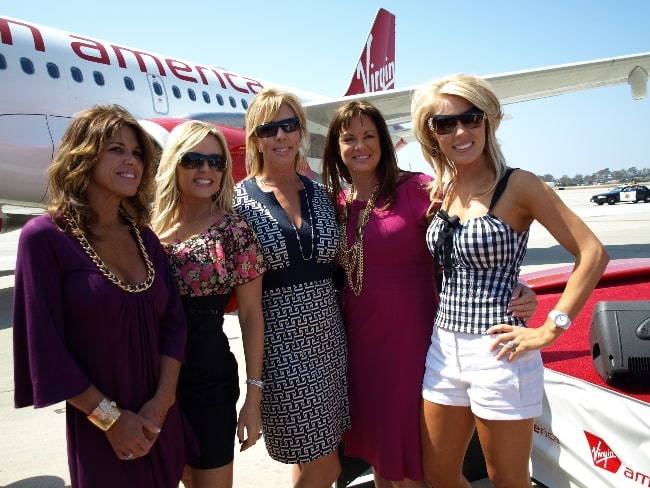 From Left to Right - Lynne Curtin, Tamra Barney, Vicki Gunvalson, Jeana Keough, and Gretchen Rossi at the Virgin America OC Launch in April 2009
