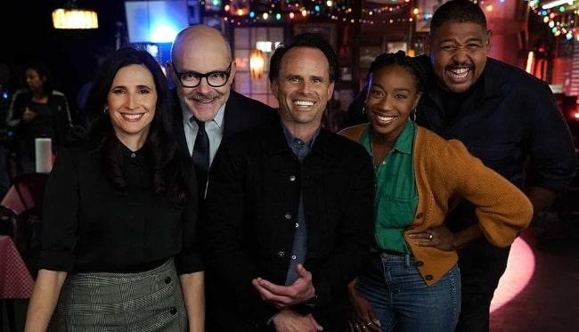 From Left to Right - Michaela Watkins, Rob Corddry, Walton Goggins, Maya Lynne Robinson, and Omar Benson Miller in February 2020