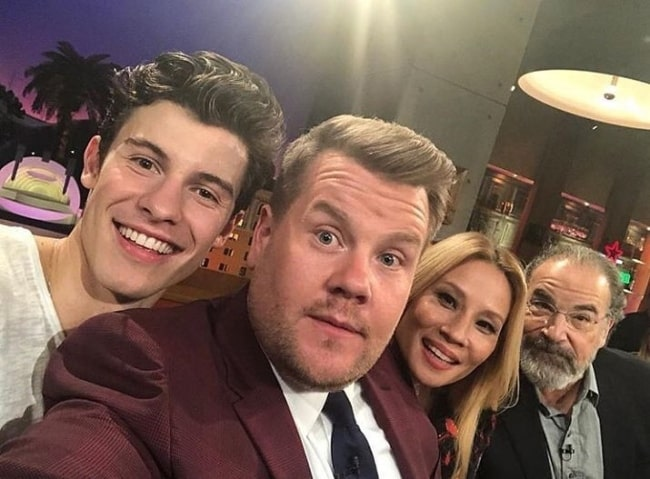 From Left to Right - Shawn Mendes, James Corden, Lucy Liu, and Mandy Patinkin as seen in a selfie in June 2018