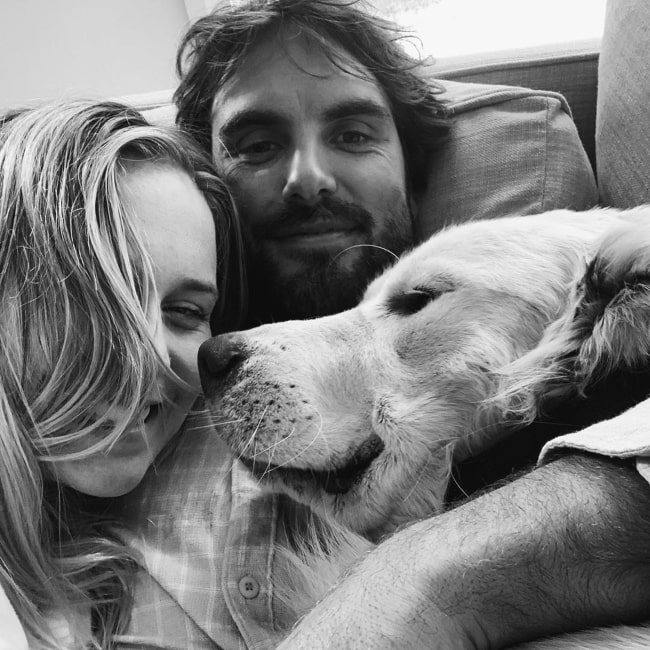 Jack River as seen in a selfie taken with her beau Brett Burcher and their dog in April 2020