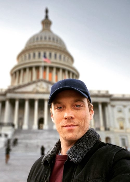 Jake Abel as seen while taking a selfie at United States Capitol in Washington, D.C., United States in November 2019