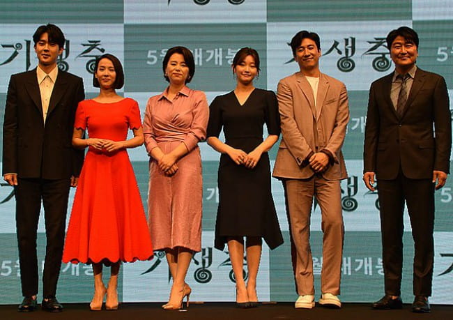Jang Hye-jin with the cast of Parasite as seen in April 2019