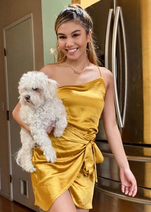 Jayka Noelle with her dog as seen in April 2020