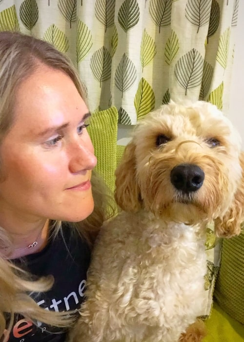 Jemma Lowe as seen in a picture taken with her dog in October 2019