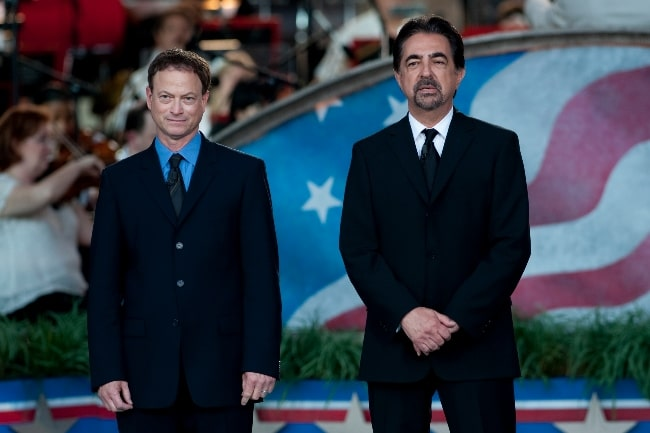 Joe Mantegna (Right) and Gary Sinise co-hosting the 2011 National Memorial Day Concert at the U.S. Capitol in Washington, D.C. on May 29, 2011