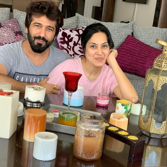 Kamya Punjabi as seen in a picture taken with her husband Shalabh Dang in April 2020