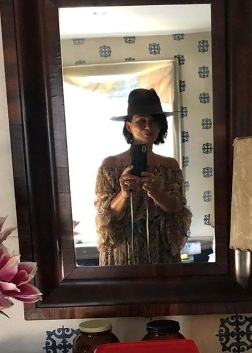 Karen Duffy as seen while taking a mirror selfie in August 2019