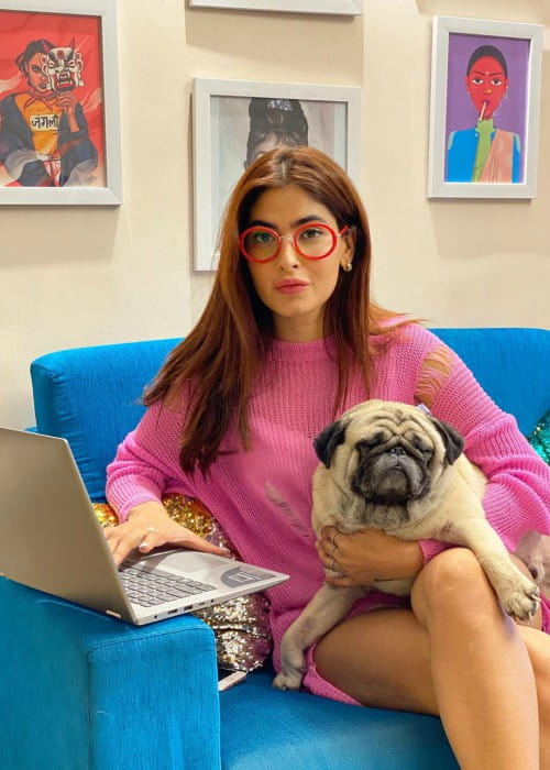 Karishma Sharma with her dog as seen in March 2020