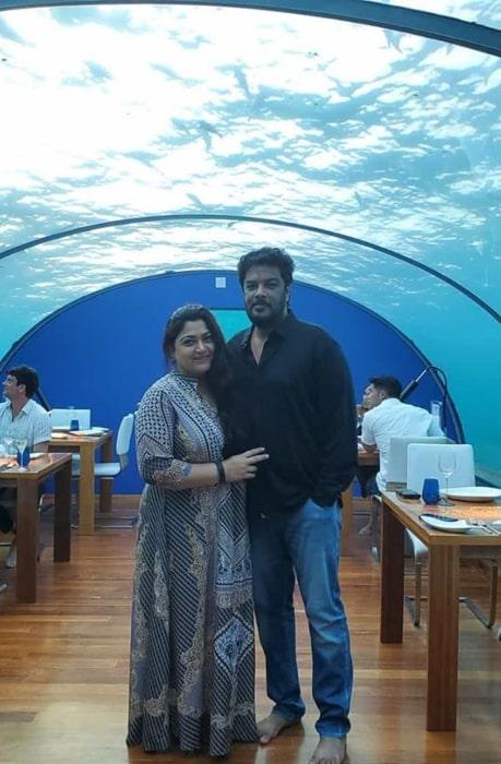 Khushbu Sundar with her husband in February 2020