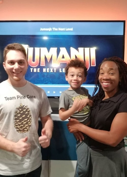 Lasercorn and Sabrina Moss with their son Tyler, as seen in March 2020