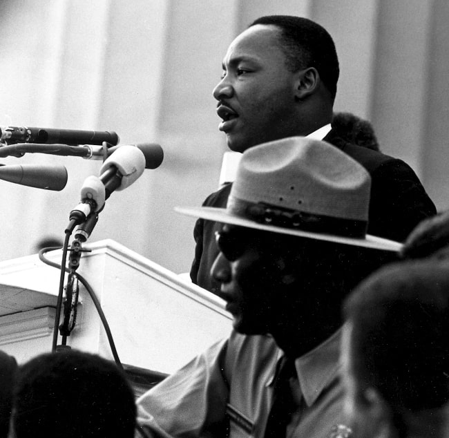 Martin Luther King Jr. pictured while delivering his most famous speech, 'I Have a Dream', before the Lincoln Memorial during the 1963 March on Washington for Jobs and Freedom