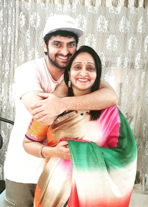 Naga Shaurya as seen while posing for a picture along with his mother