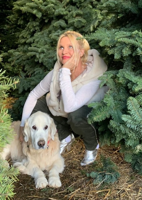 Nicollette Sheridan with her pet dog, as seen in December 2019