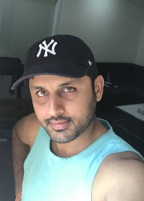 Nithiin as seen while clicking a selfie in March 2018