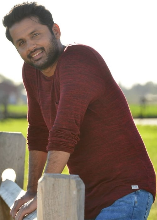 Nithiin as seen while smiling for the camera in March 2019