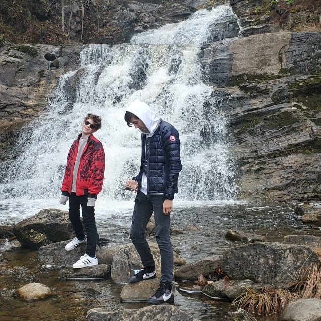Oakes Fegley (Left) and Max Schuster at Kent Falls State Park in Connecticut in November 2019