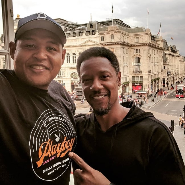 Omar Benson Miller (Left) as seen while taking a selfie with Tory Kittles at Piccadilly Circus in August 2019