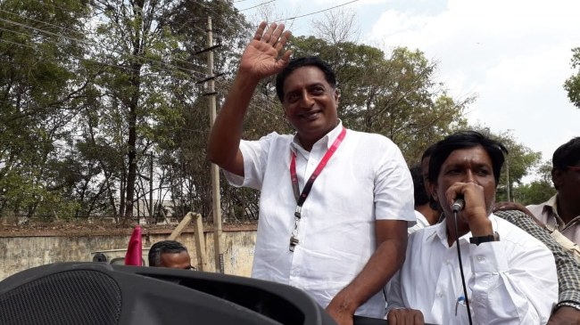 Prakash Raj at an election rally in 2019