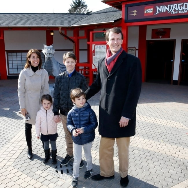 Princess Marie and Prince Joachim and Prince Felix, Prince Henrik and Princess Athena at the opening of the area Ninjago World in the amusement park Legoland Billund Resort in Denmark in March 2016