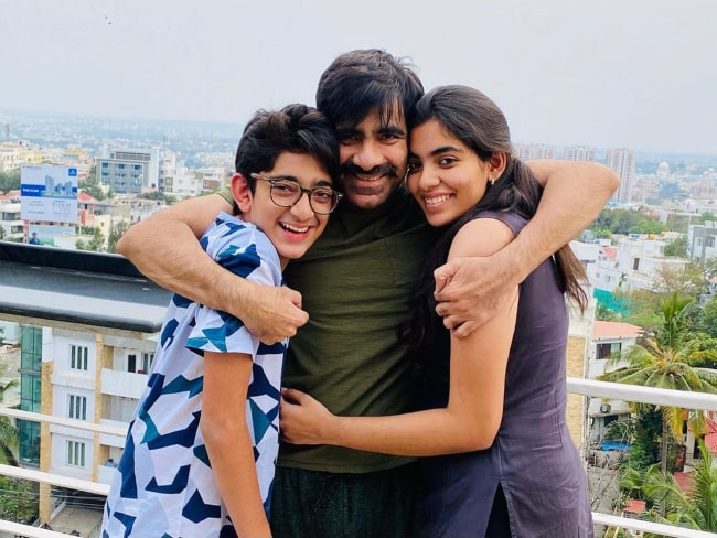 Ravi Teja with his children, as seen in an April 2020