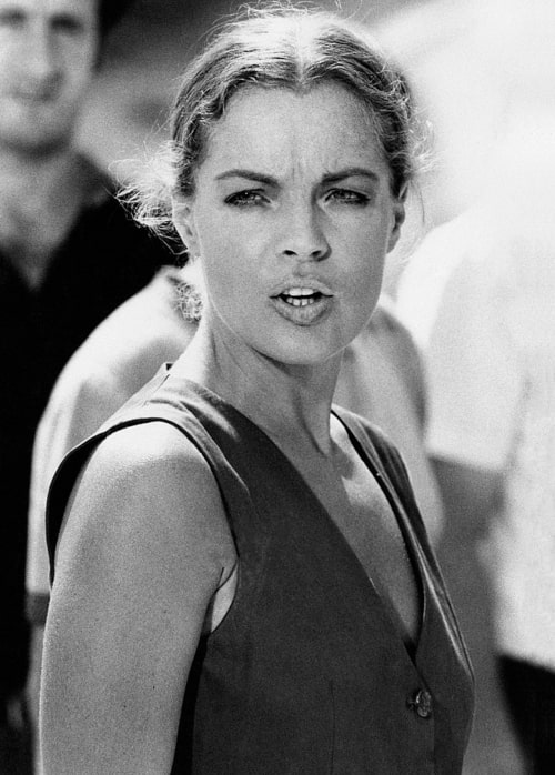 Romy Schneider acting in a scene from 'La Califfa'. Parma, 1970