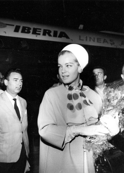 Romy Schneider arriving at Madrid's Barajas airport on September 5, 1965