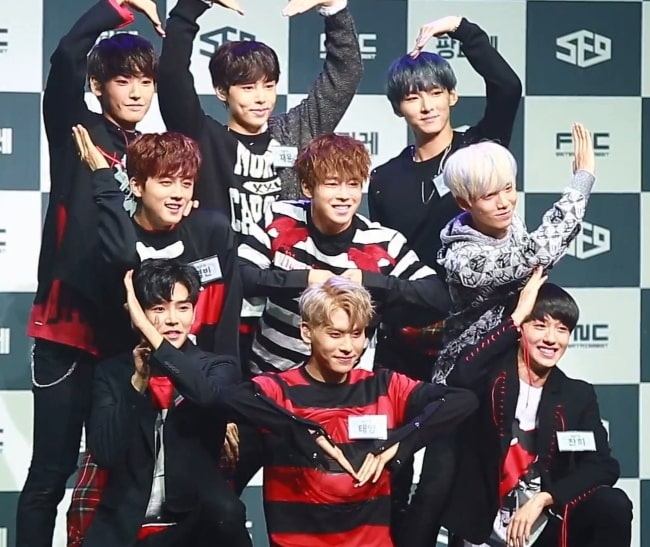SF9 posing for a picture during an event in October 2016