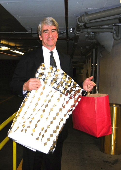 Sam Waterston as seen while displaying gifts given by fans after Refugees International dinner