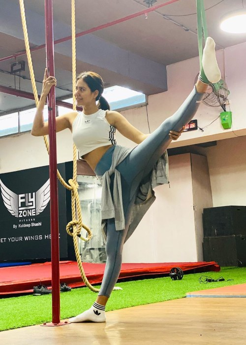 Sonam Bajwa in the middle of a workout in 2020
