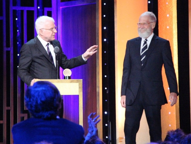Steve Martin (Left) as seen while presenting David Letterman with his Individual Peabody Award in May 2016