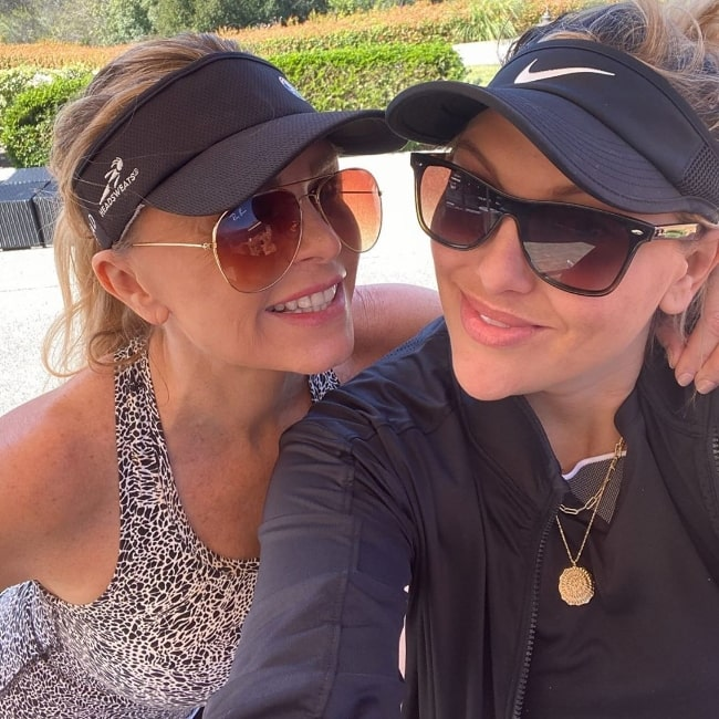 Tamra Judge (Left) smiling in a selfie alongside Gina Kirschenheiter at Coto de Caza Golf & Racquet Club in February 2020