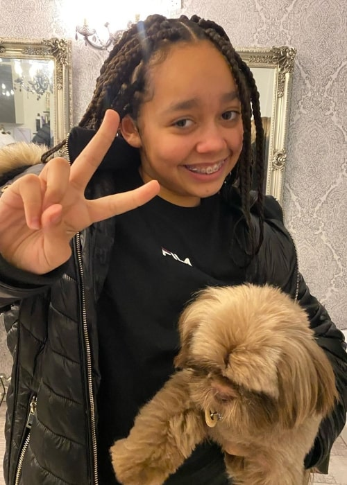 Tiana Wilson as seen in a picture taken with her dog Charlie in January 2020