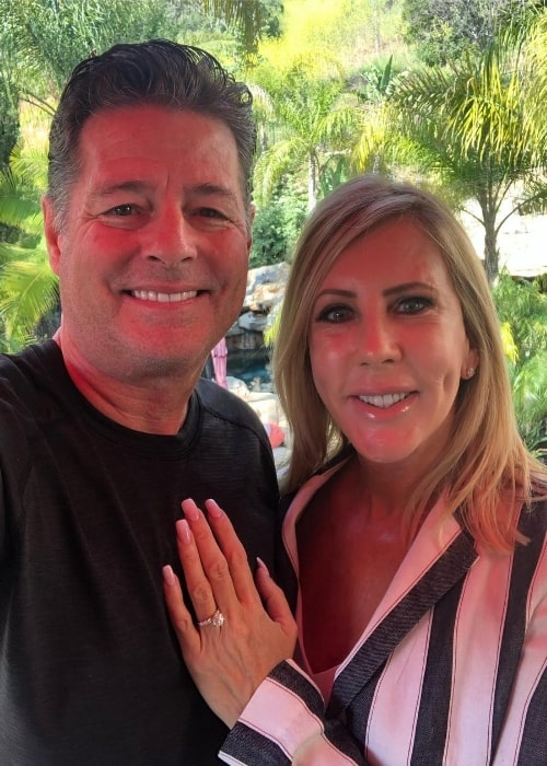 Vicki Gunvalson and Steve Chavez Lodge as seen while taking a selfie announcing their engagement at Coto de Caza, California in April 2019