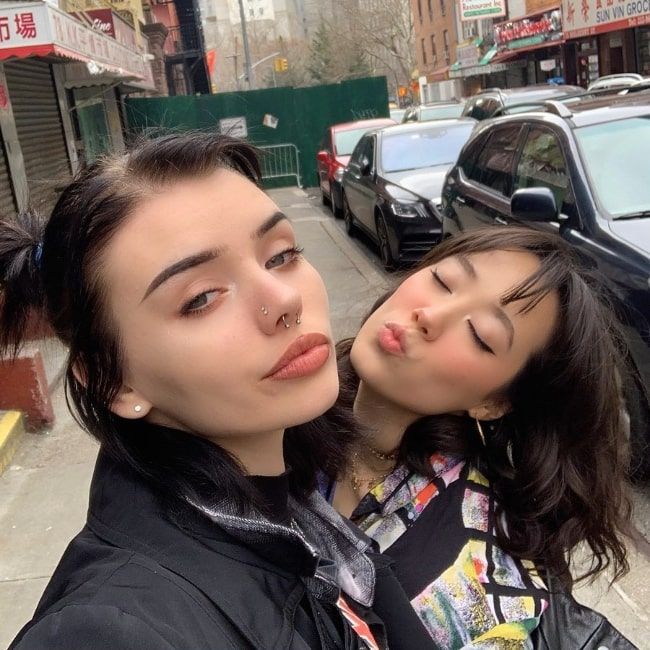 Xowie Jones as seen while clicking a selfie alongwith Salinakilla in New York City, New York in February 2020
