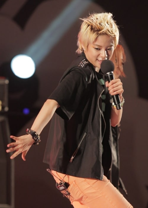 Amber Liu pictured while performing at the Music Show in Seoul Plaza on July 4, 2011