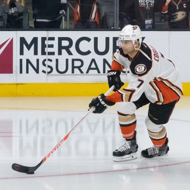 Andrew Cogliano as seen in a picture taken during a game in April 2016