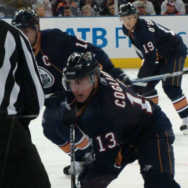 Andrew Cogliano as seen in a picture taken during a game on December 15, 2009