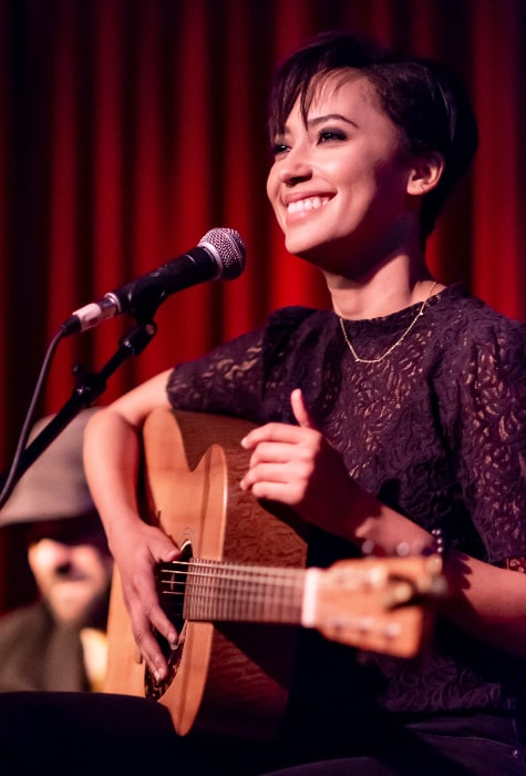 Andy Allo as seen while performing live at the Hotel Cafe in Hollywood, Los Angeles, California on June 16, 2018