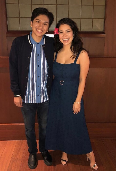 Anthony Gonzalez posing for a picture along with Auli'i Cravalho in August 2019