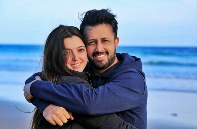 Atif Aslam with his wife in 2019