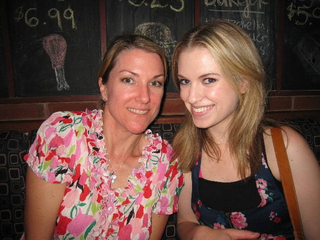 Barbara Dunkelman (Right) and Kathleen Zuelch smiling for the camera at RvBTO 2011, a 'Red vs. Blue' fan gathering in Toronto