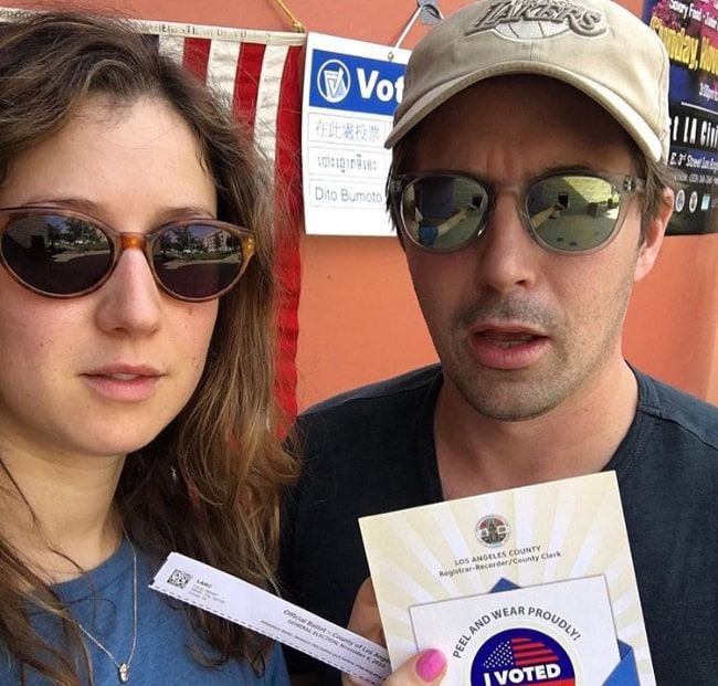 Beck Bennett as seen while posing for a selfie alongside Jessy Hodges after they had voted in November 2018