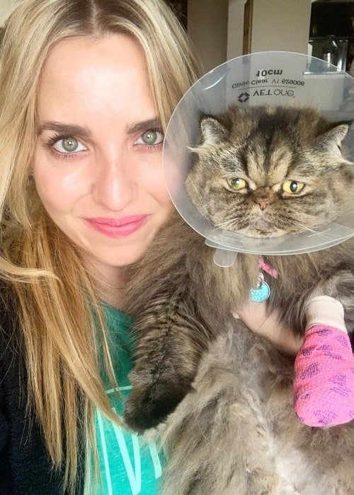 Brittany Force in a selfie taken with her cat Stormy in March 2020
