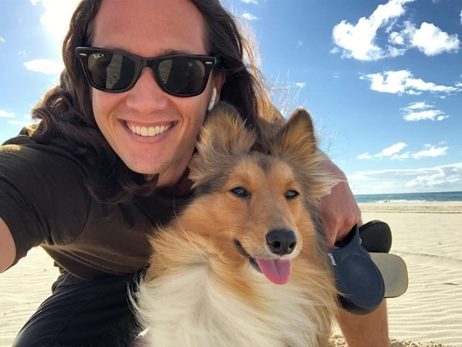 Chai Hansen as seen while taking a selfie with his dog in May 2019