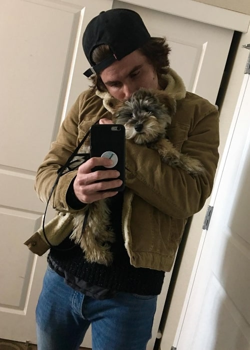 Chase Stokes as seen while clicking a mirror selfie with his dog at Marina del Rey in Los Angeles County, California