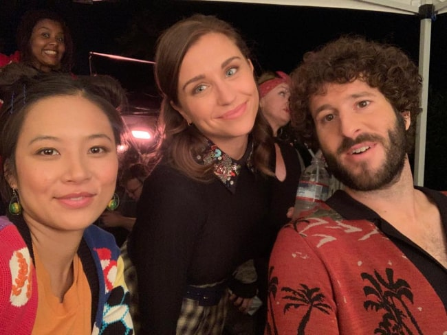 Christine Ko as seen while taking a selfie along with Taylor Misiak (Center) and Lil Dicky in March 2020