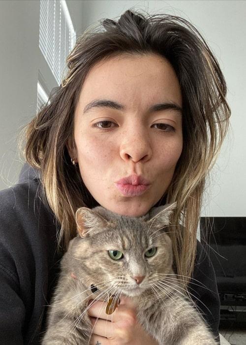 Cristal Ramirez as seen in a selfie taken with her cat in April 2020