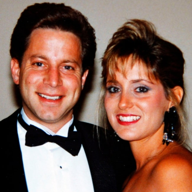 Danny Porush as seen in a picture taken with his wife in 1991 at a wedding of a Stratton Oakmont employee
