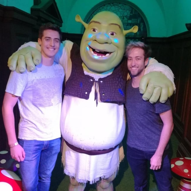 DenisDailyYT and YouTuber Alex standing alongside the self-titled movie character Shrek in August 2017